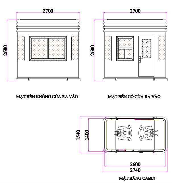 Kích thước cabin thu phí VC2H1400